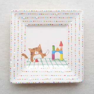 Pottery plate 【Let's play with blocks】cat♥