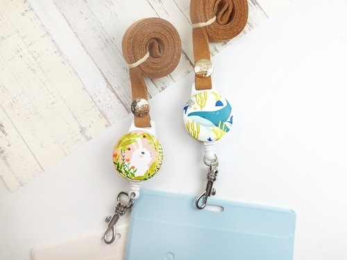 I easy to wear retractable card holder - summer new (two) - marine whale flowers bunny