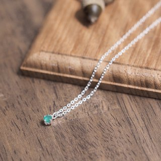 Natural emerald necklace 925 Silver