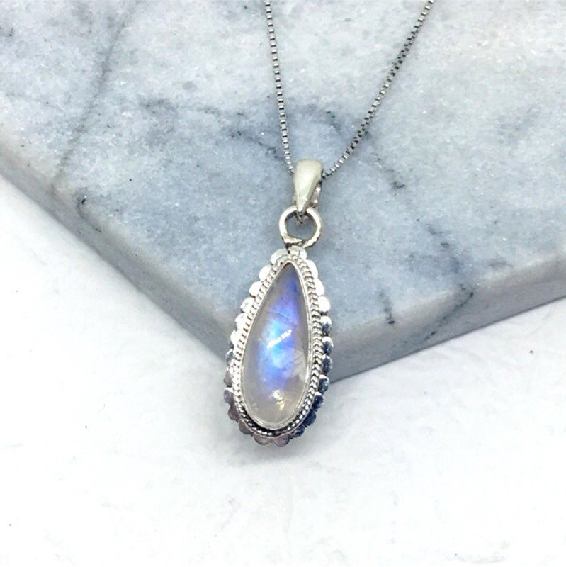 Moonstone 925 sterling silver dot necklace necklace Nepal handmade mosaic production (style 4)