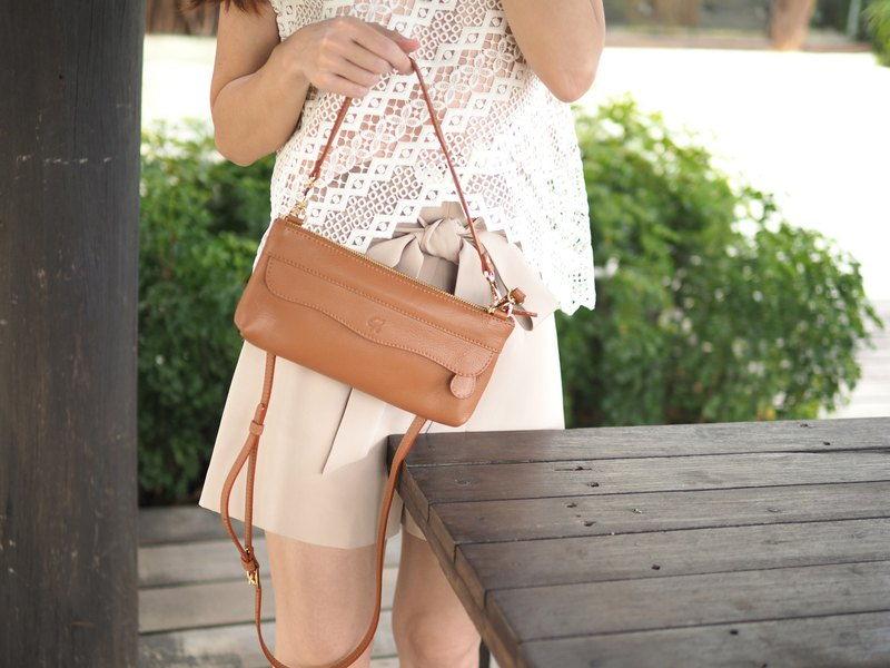 Sherbet mix (Caramel Brown) : Leather bag, Cross-body bag, 2 straps, Clutch