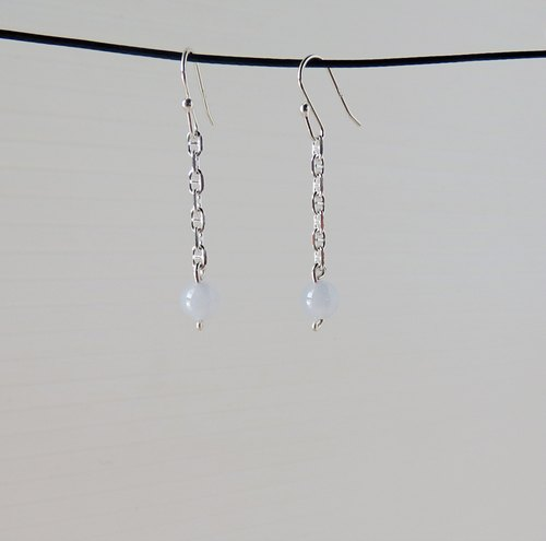 "[Opium poppy ﹞ ﹝ love ‧ chain] Silver ******fashion ""lucky stone"" ice kinds of color jade earrings******"