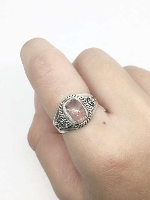 Pink Tourmaline Retro Design Ring in Sterling Silver Nepal Handmade Mosaic (Style 2)