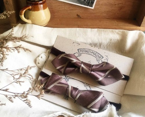 Papa's Bow Tie- antique handmade cloth flowers restructuring tie bow tie - brown Oslo - Wide