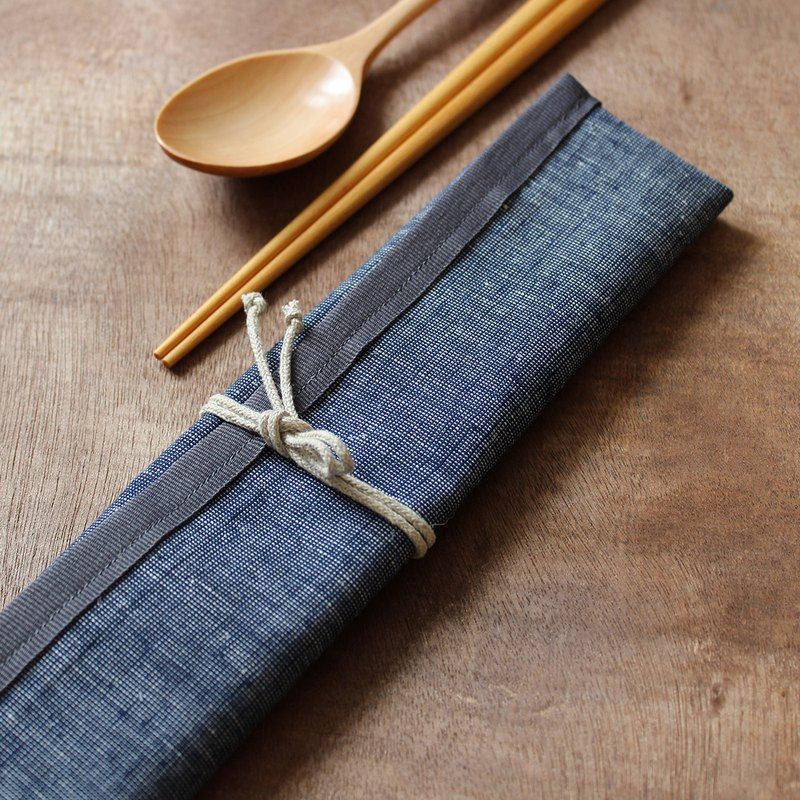 All-in-one POUCH dark blue linen & water proof lining