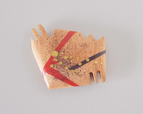 Small Abstract Vanity Hand Mirror (vermilion and gold) habataku