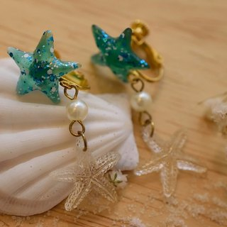 NEW!! Cute & Beauty Star Fish Resin Clip Earrings