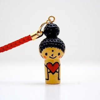 mini Kokeshi * Amitabha customers * strap * smile ♥ Heart [14]
