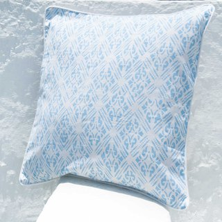 Handmade woodcut printed pillowcase cotton pillowcase handmade printed pillowcase - Moroccan blue flowers