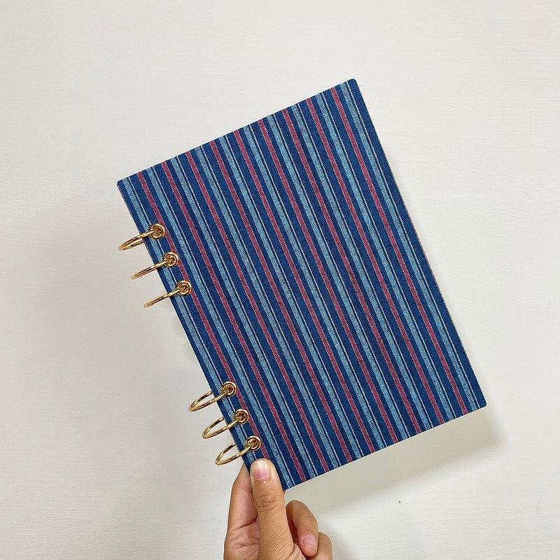 藍綠條紋 - A5 / A6 6孔活頁本 封面可水洗  無時效 行事曆 手帳