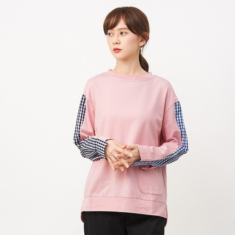 a la sha+a lively two-tone plaid stitching long-sleeved top