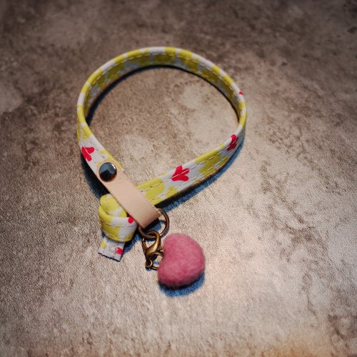 Cat Collars, Yellow Pink flowers, Duck paw_CCK090412
