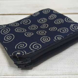Dark blue Japanese wind vortex pattern double zipper coin bag card package admission package