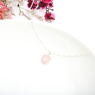 Square Pink Quartz crystal s925 sterling silver necklace Valentine's day gift