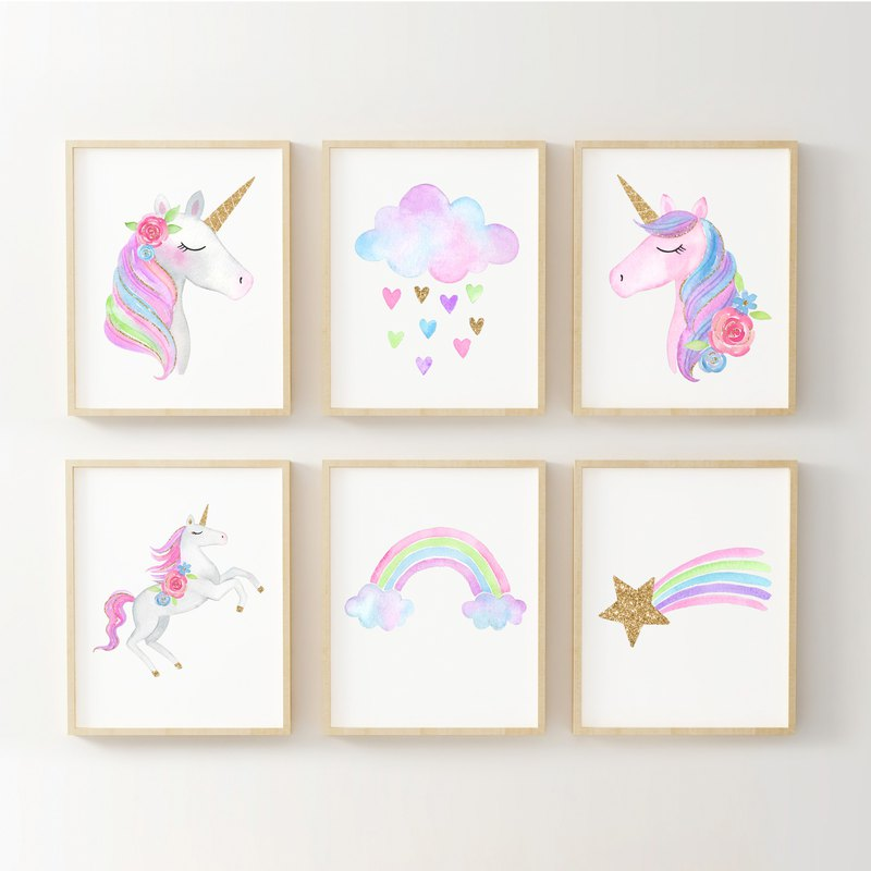 Unicorn print #2 set of 6 customizable posters