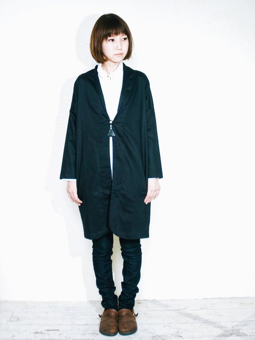 Omake monk robes coat / long version / black
