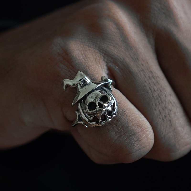 Halloween skull pumpkin ring jack o lantern women sterling silver 925 Boho cute