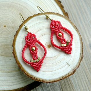 Misssheep-A48-Red ethnic style wax woven brass bead earrings (hook)