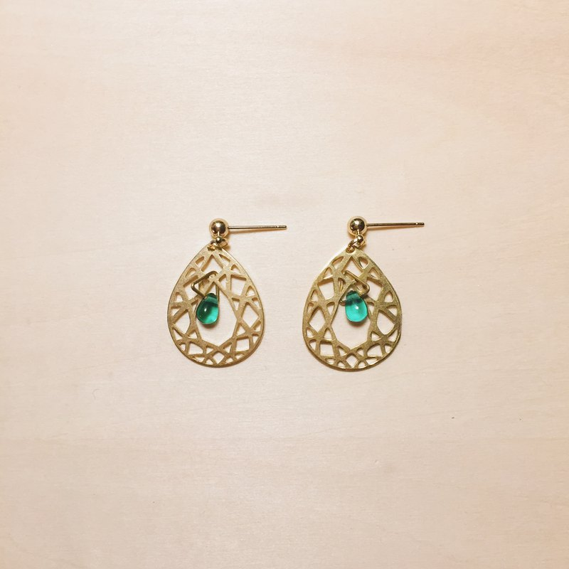 Vintage Green Mesh Drop Earrings