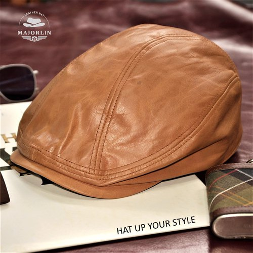 Cowhide flat hat camel imitation retro oil wax leather leather leather cap cap cap boy cap baby cap [MAJORLIN]