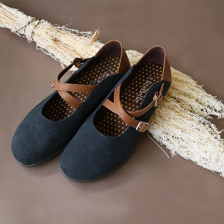 [Forest Music Sheet] Brushed Round Head Shoes_Blue