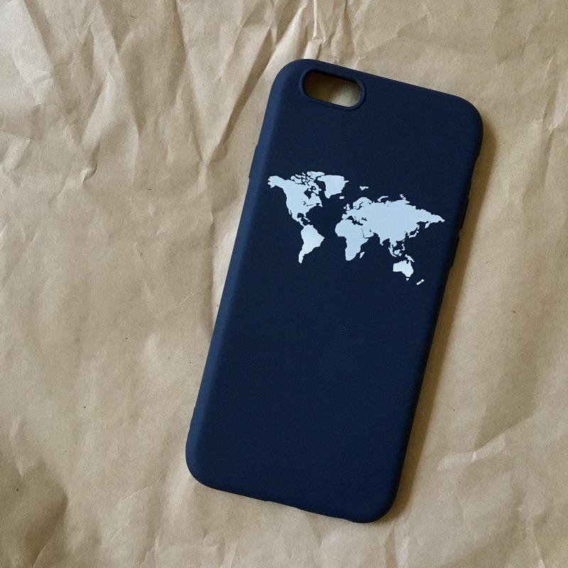 World map map / soft shell / text phone shell