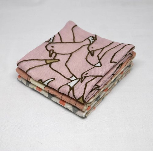 Japanese Handmade 6 layer of gauze mini-handkerchief/ 3 pieces in 1unit
