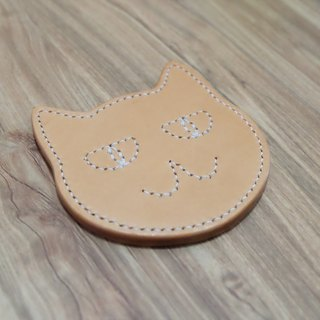 Hand-sewn leather cat coasters
