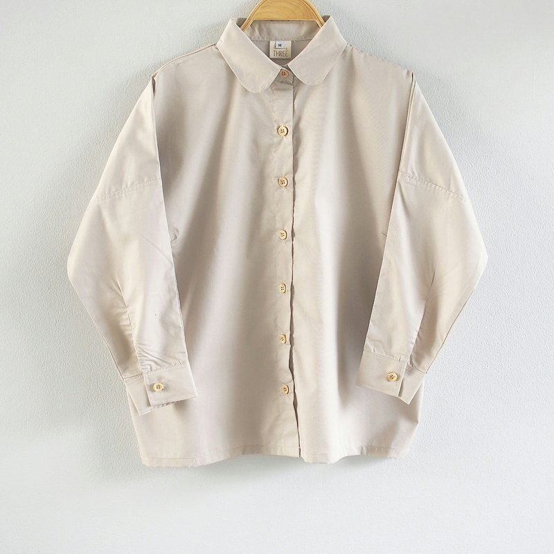 Long-sleeved Shirt with Wooden buttons-Khaki