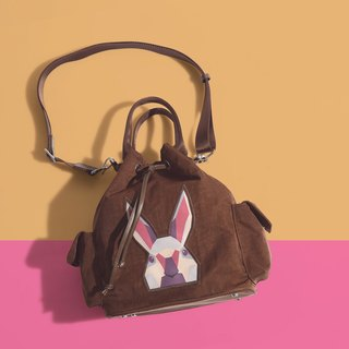 Khieng Atelier Diamond Rabbit Rabbit diamond shoulder bucket bag - brown earth