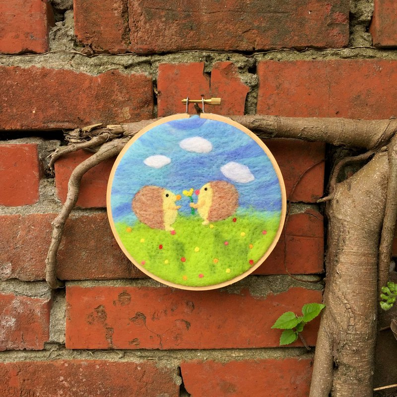 Round Embroidered Picture Frame - Hedgehog Good Friends