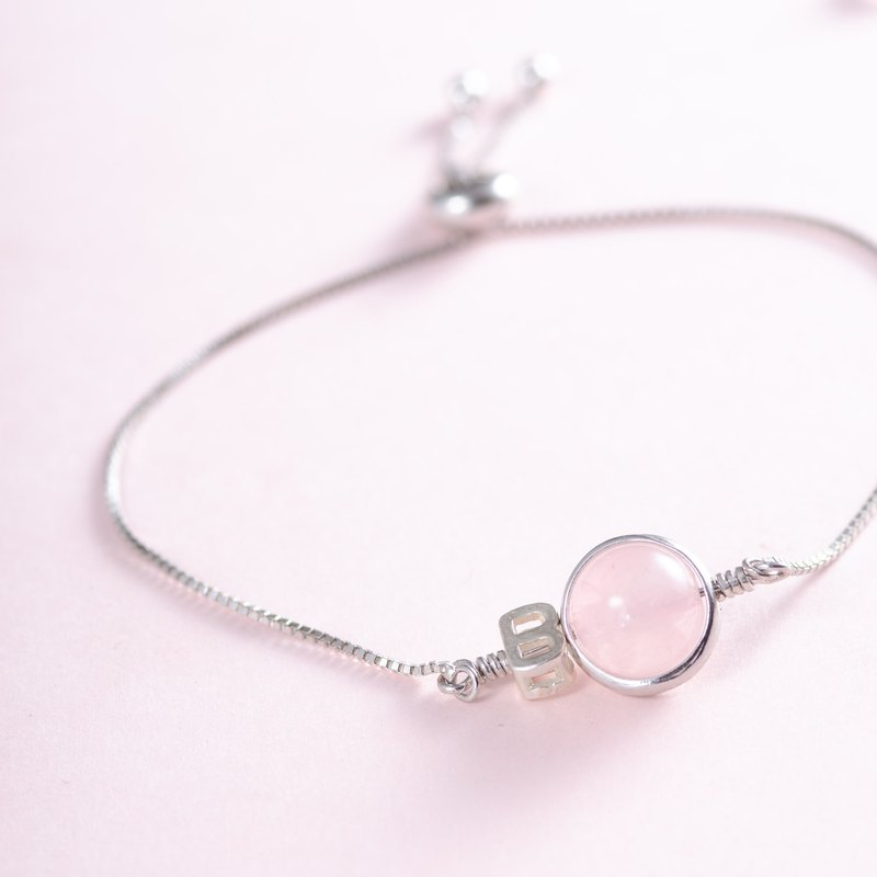 Rose Quartz , 925 sterling silver findings Natural Gemstone Crystal Bracelet