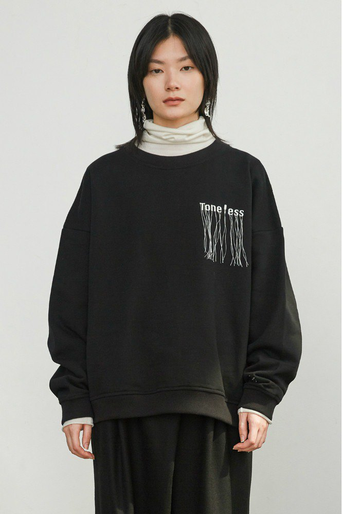 Black Toneless Tricolor Band Embroidered Turtleneck Sweater for Fall/Winter Plus Velvet Men and Women with Long Sleeve University T