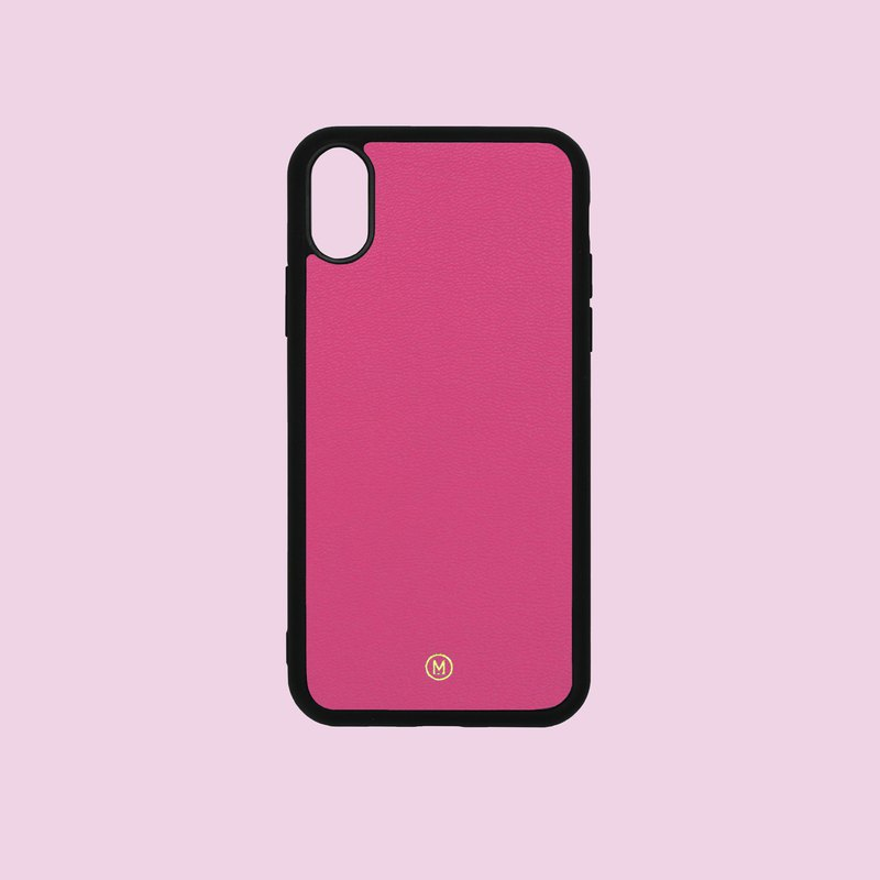 Customized Multicolor Leather Goatskin Series Macaron Dream Color Pink iPhone Case