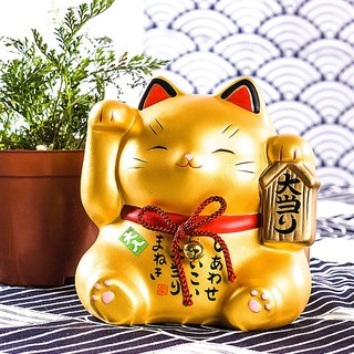 Japanese pharmacist kiln handmade painted large save money tank Lucky Cat ornaments opening birthday wedding gift ornaments