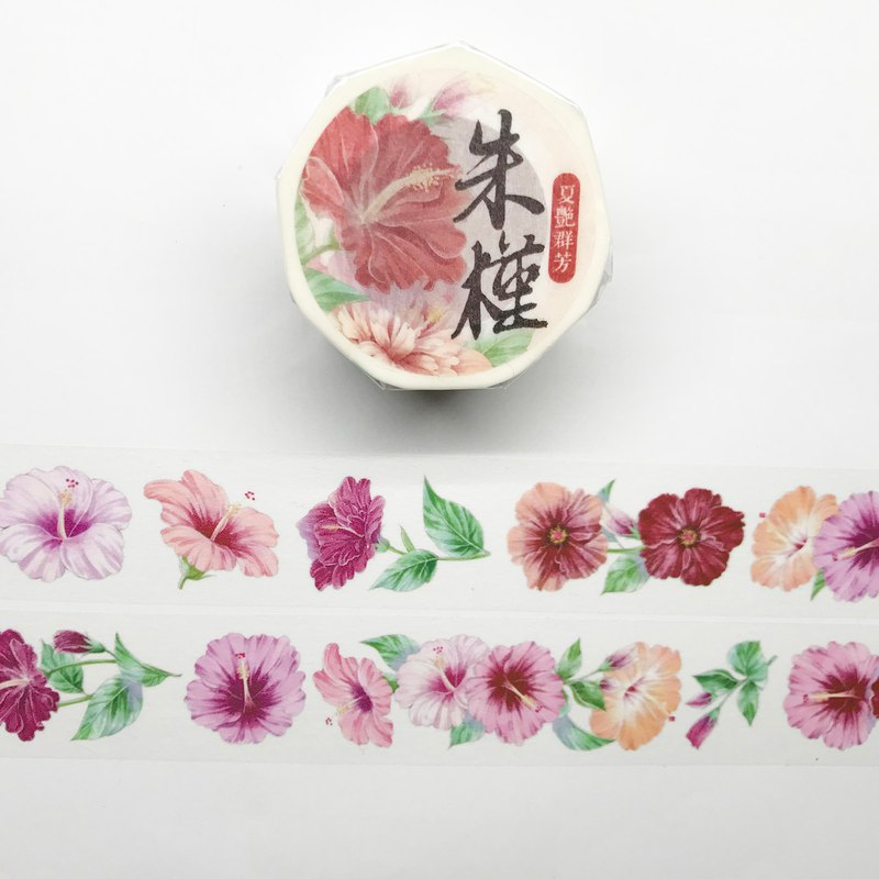 [夏艳群芳]Zhu Yu / China rose white ink and paper tape