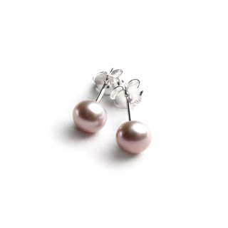 Natural pearl sterling silver earrings | mauve pink