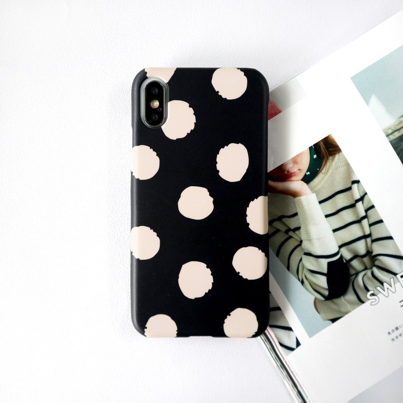 Dark black big dot phone case