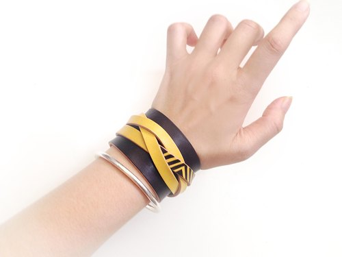 POPO│ Wide leather bracelet │ ‧ ‧ shiny yellow │leather