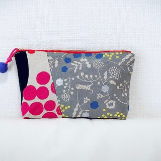 Stitching cosmetic bag - imported Japanese flower cloth - red round + gray floral