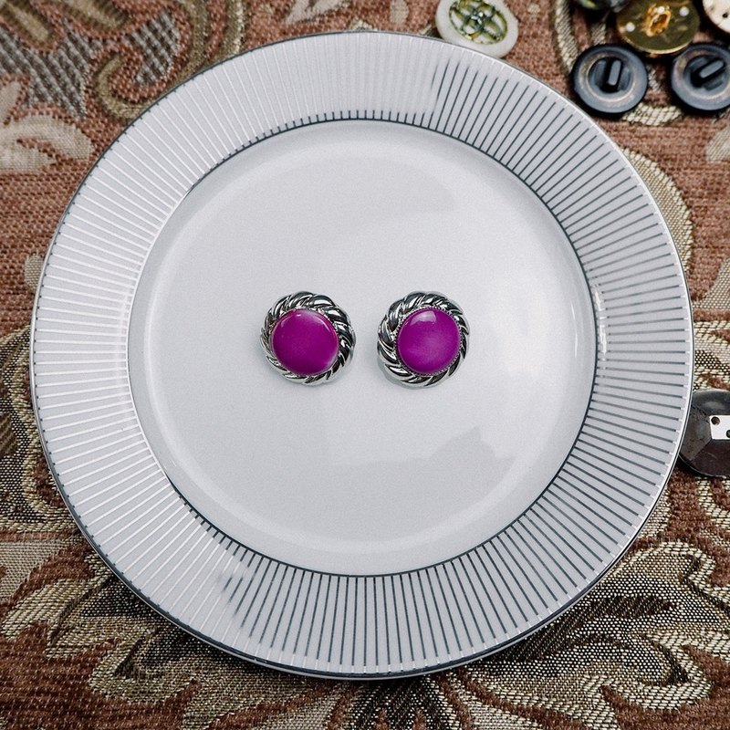 Vintage Purple Silver Side Antique Earrings BPA014