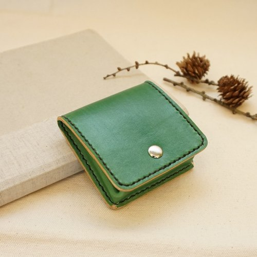 Hand-dyed leather square purse - green
