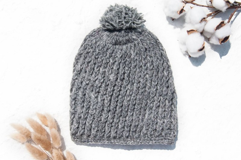 Hand-woven pure wool cap / knitted fur cap / inner brush hair hand-woven wool cap / hand-knitted wool cap - Japanese gray