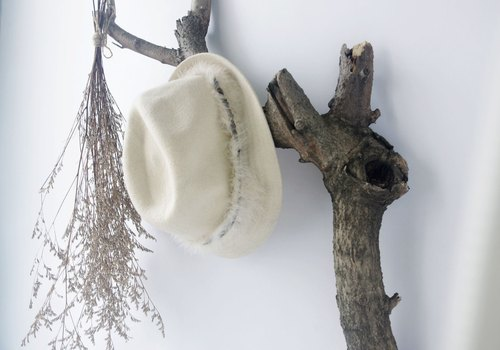 4.5studio- beige feathers pure wool gentleman hat