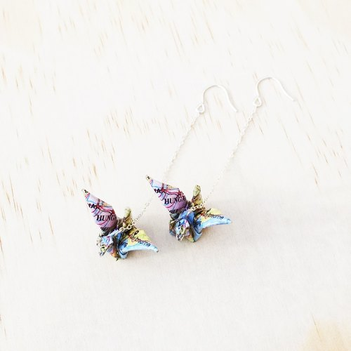 Map paper cranes hanging earring /