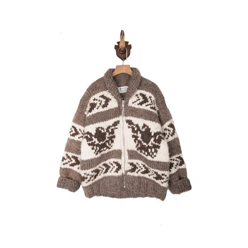 Vintage Cowichan Thunderbird totem Jin Dynasty hand-woven sweater coat Vintage Jacket