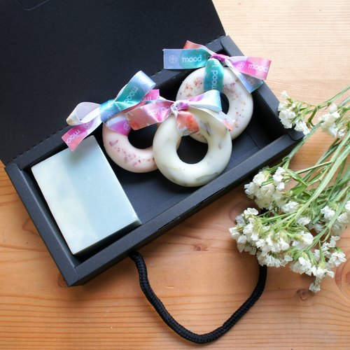 Handmade soap and wreath fragrant brick. Aromatic gift box