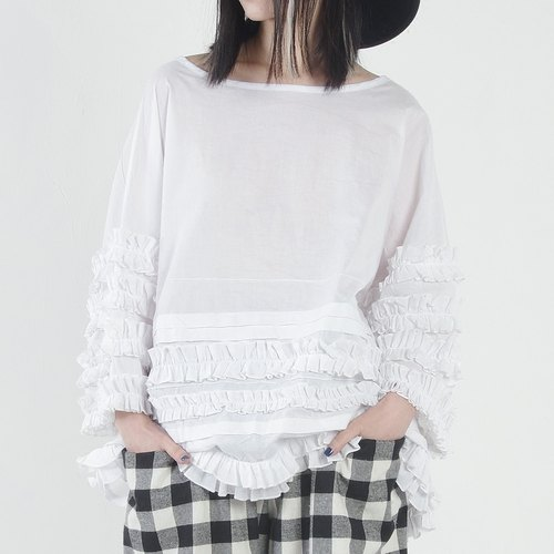Circle lace white long-sleeved cotton - imakokoni