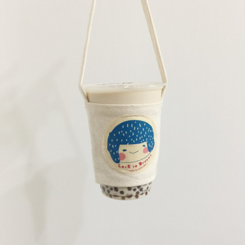 Little girl drink bag / cup set - peacock blue