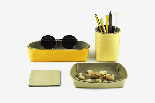 Desk Organization - Storage Box, Pencil Holder, Tray, Coaster, Yellow
